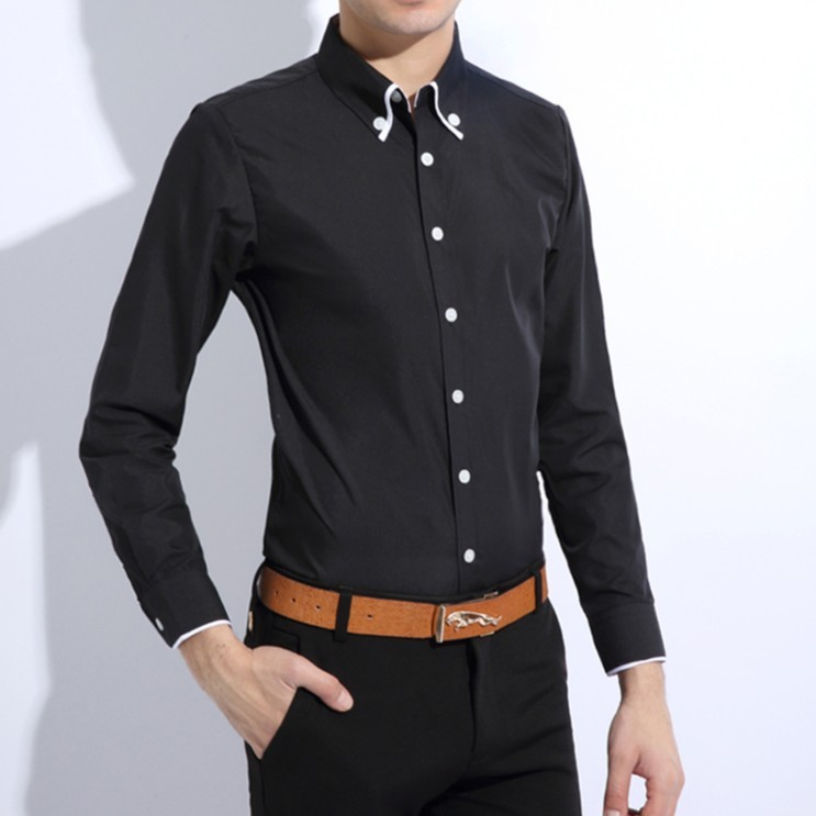 2015 New Dress Fashion Quality Long Sleeve Shirt Men.New Korean Slim Design,Formal Casual Male Dress Shirt.Solid 2 Colors