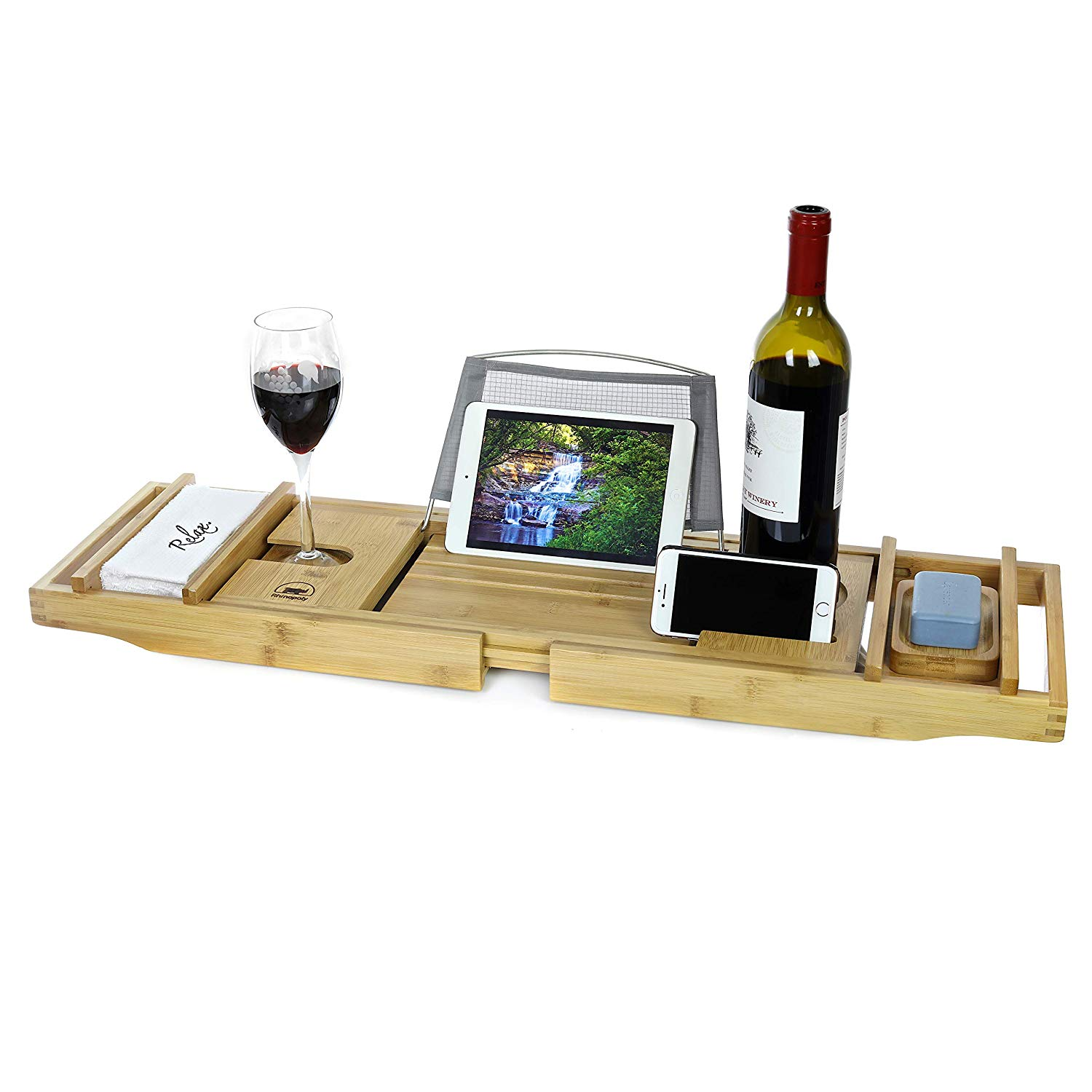 Rhinopoly Luxury Expandable Bamboo Wood Bathtub Caddy Tray with Book Stand and Wine Glass Holder - Free Bonus Spa Washcloth