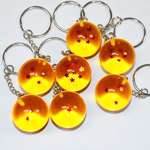 Fashion Cartoon Anime Dragon Ball Keychain 7 Stars Crystal Ball Keyrings PVC Pendant