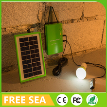Mini portable solar power system for camping home lighting with 2 led lamp