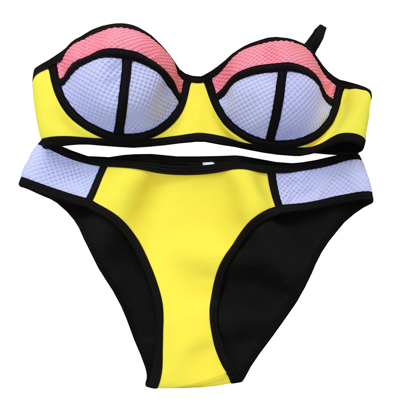 2015 Hot Sale Neoprene Bathsuit Swimsuit Sexy Color Bandeau Push Up Bikinis set Women Triangl Swimwear Bikini Set big size