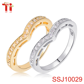 wedding rose cz gold silver jewelry zircon goldrings white diamond plated ring