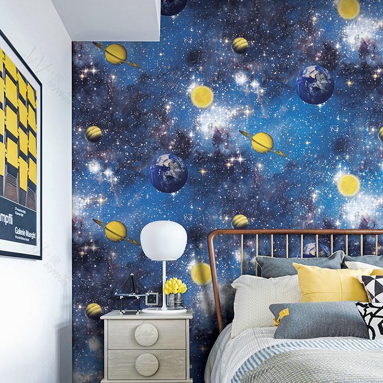 Interior Decor Material Galaxy Modern Wall Paper