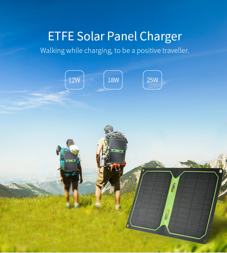 Greenbar ETFE 12W Solar Panel Charger With DualUSB For Mobile Phone