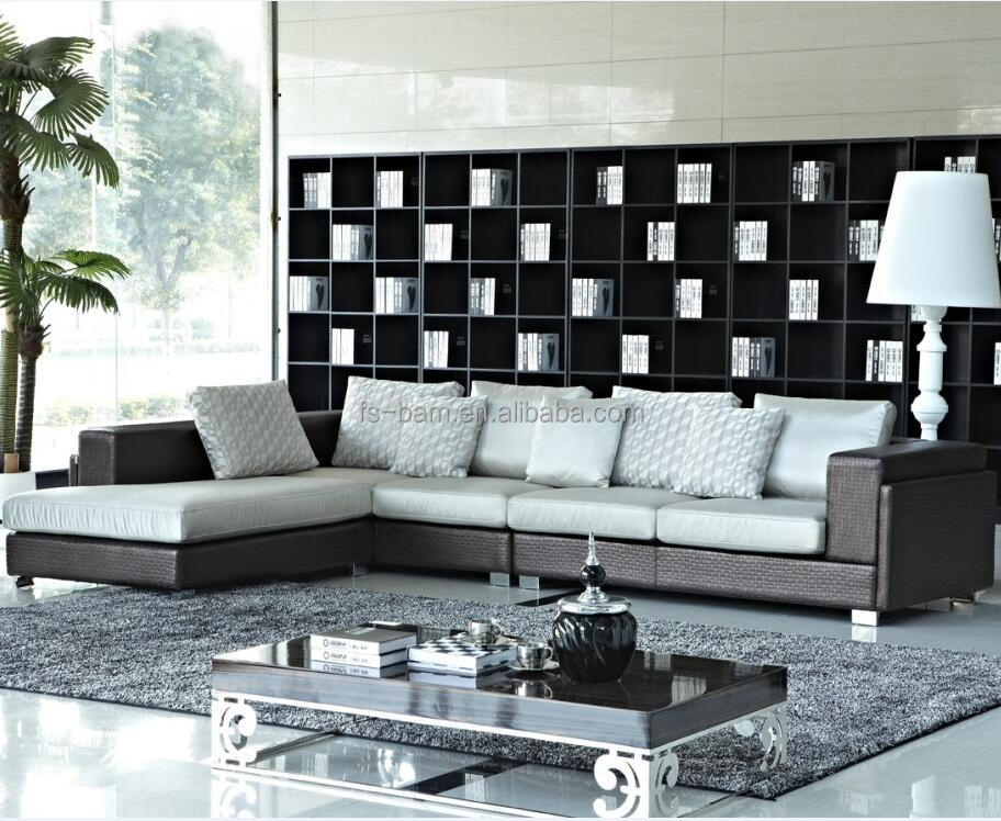 Foshan Furniture Modern Fabric Sectional Wood Sofa set