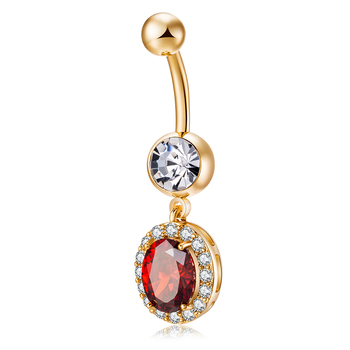 KUNIU Amazon Hot Sale Ellipse Crystal Zircon Navel Ring For Women