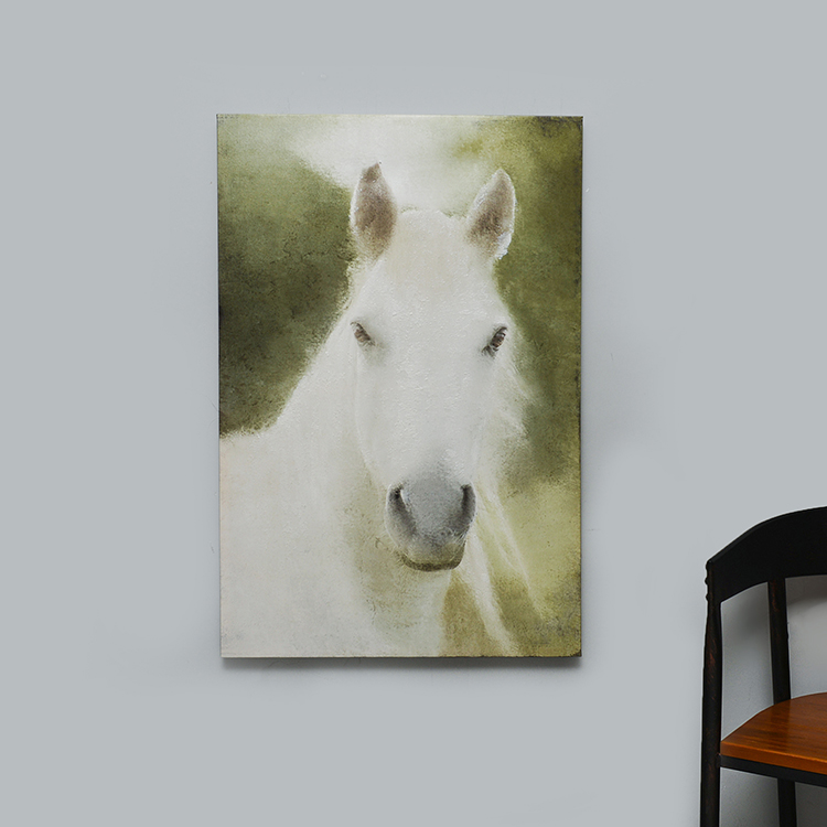 Room decorative white horse canvas painting crafts framed wall hanging art