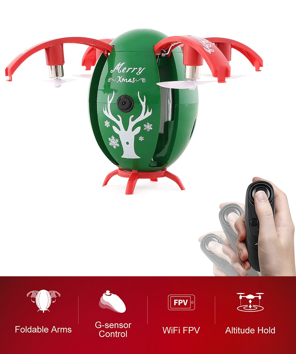 BTG JJRC H66 Christmas Egg-shaped RC Drone With Gravity Sensing Remote Control, WIFI FPV, Altitude Hold, 720P HD Camera, Headless Mode, One-key Unfold (Color: Green)