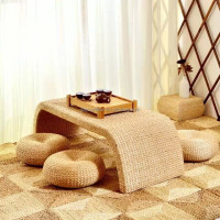 handmade seagrass weave bridge tea table and chairs set sea grass Chinese tea table set