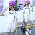 Stylish pure color apparel young girls clothing sets letter printed comfort casual kids clothes sets