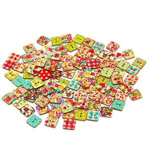wholesale square wooden buttons for scrapbook