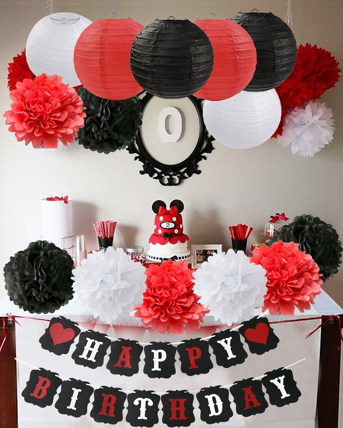 Get Quotations Mickey Mouse Birthday Party Decorations White Red Black Minnie Supplies Tissue