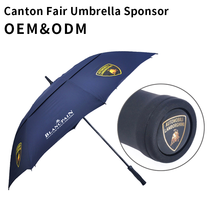 Double Canopy Layer Storm No Metal Rain Carbon Fiber Rolls Royce Promo Slogan Monsoon Wind-Resistant Double Sided Golf Umbrella
