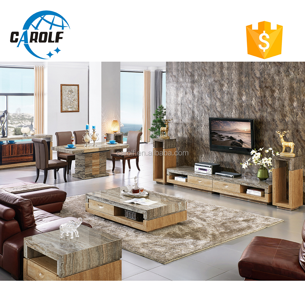 2017 high quality China Professional marble Tv hall cabinet living room furniture designs