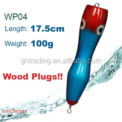 WP04 length 17.5cm 100g Big Game Fishing Wooden GT Popper lure