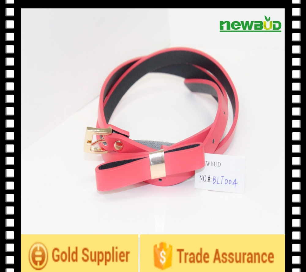 Fashion High Qulity Red Bowknot PU Belt For Lady