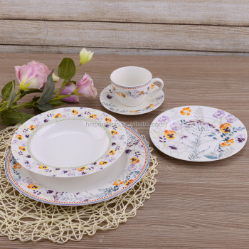 Alibaba China supplier fine porcelain dinnerware sets new bone china purple floral dinner set for 6 & Alibaba China Supplier Fine Porcelain Dinnerware Sets New Bone China ...