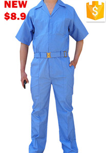 2016 blue one piece cheap work clothes summer coveralls for men