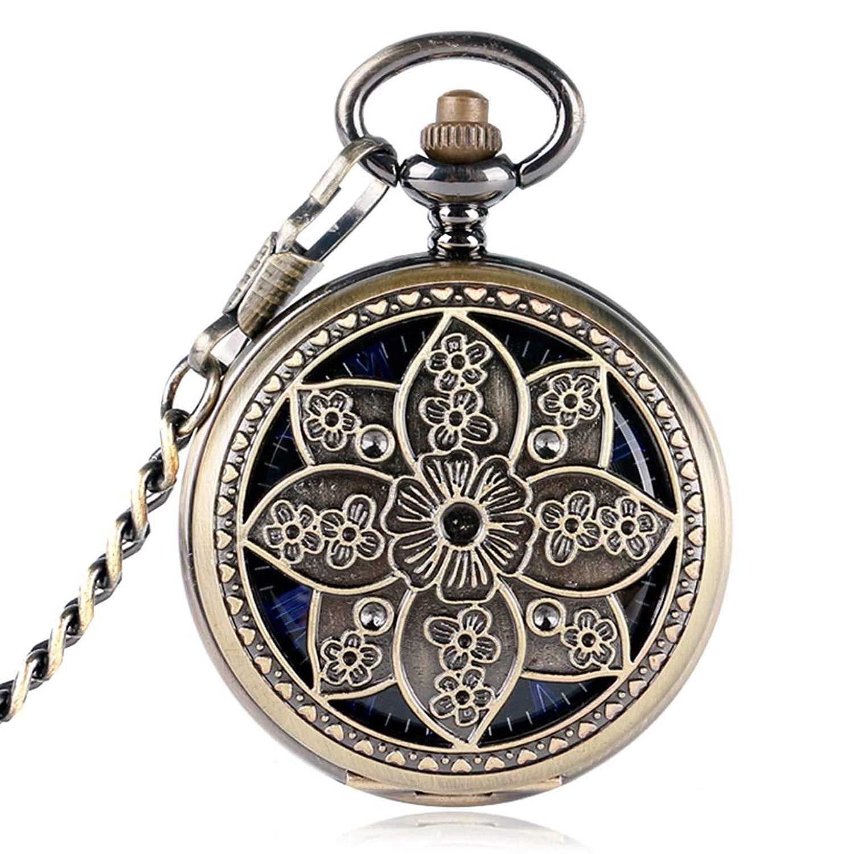 Classic Pocket Watch, Lotus Flower Copper Pocket Watch for Women Men, Skeleton Mechanical Hand Winding Pocket Watch Gift