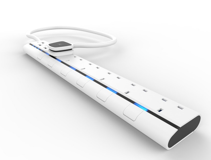 UK power socket 6-gang with 4 USB ports, UK power strip with blue LED power indicator for each port