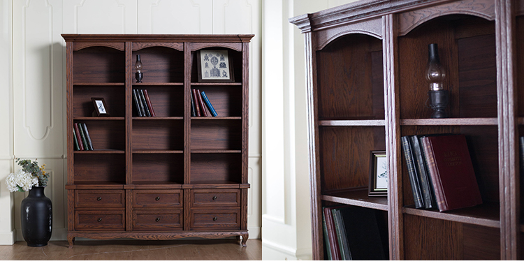Boomdeer Hot Selling Antique Design High Quality American Style Bookshelf Cabinet Tall Solid Wood Bookcase