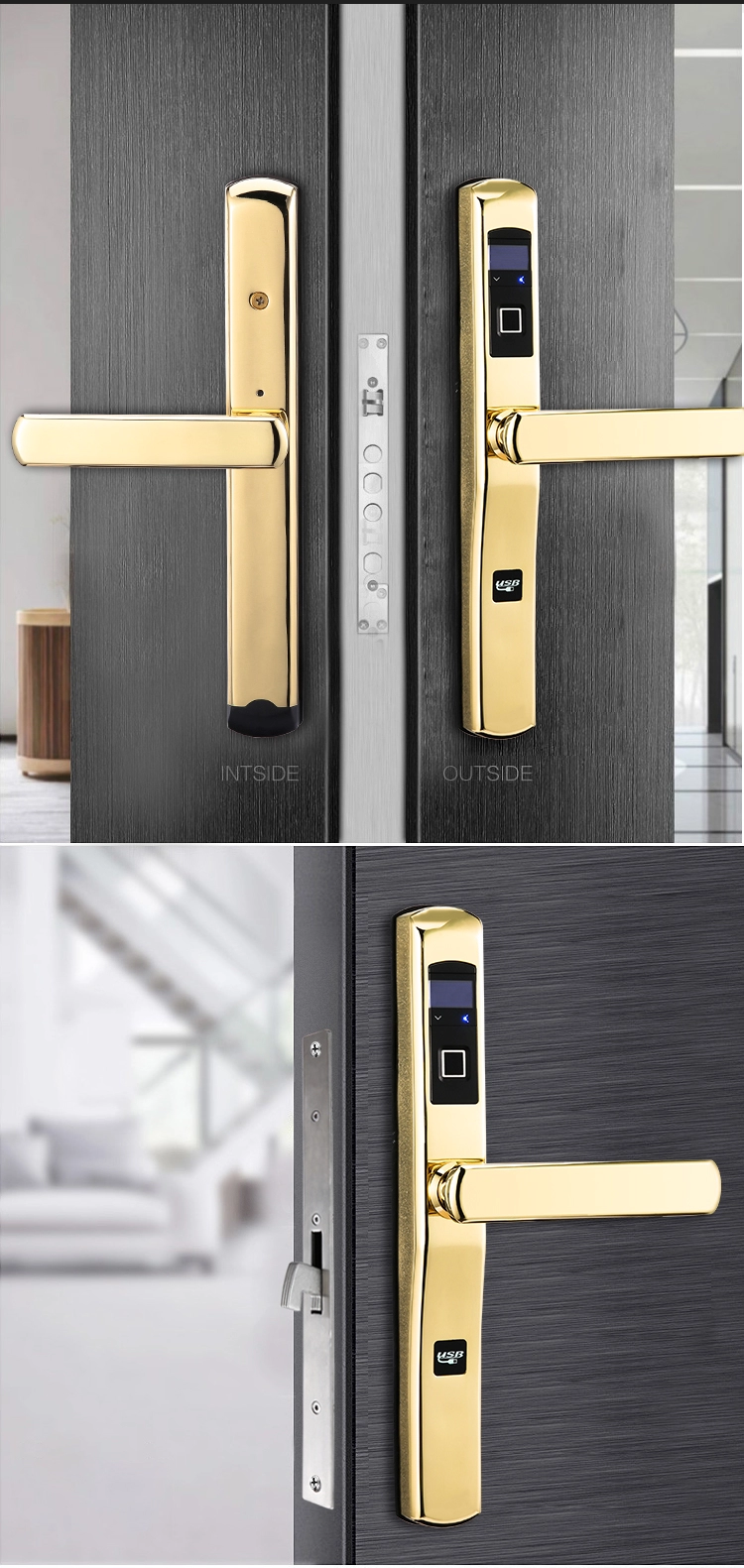 China Biometric Electronic Z Wave Mortise Lock Cheap High Quality