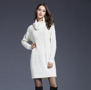 women sweater dress pullover plus big size turtleneck special for europe and america market roll collar lady long skirt