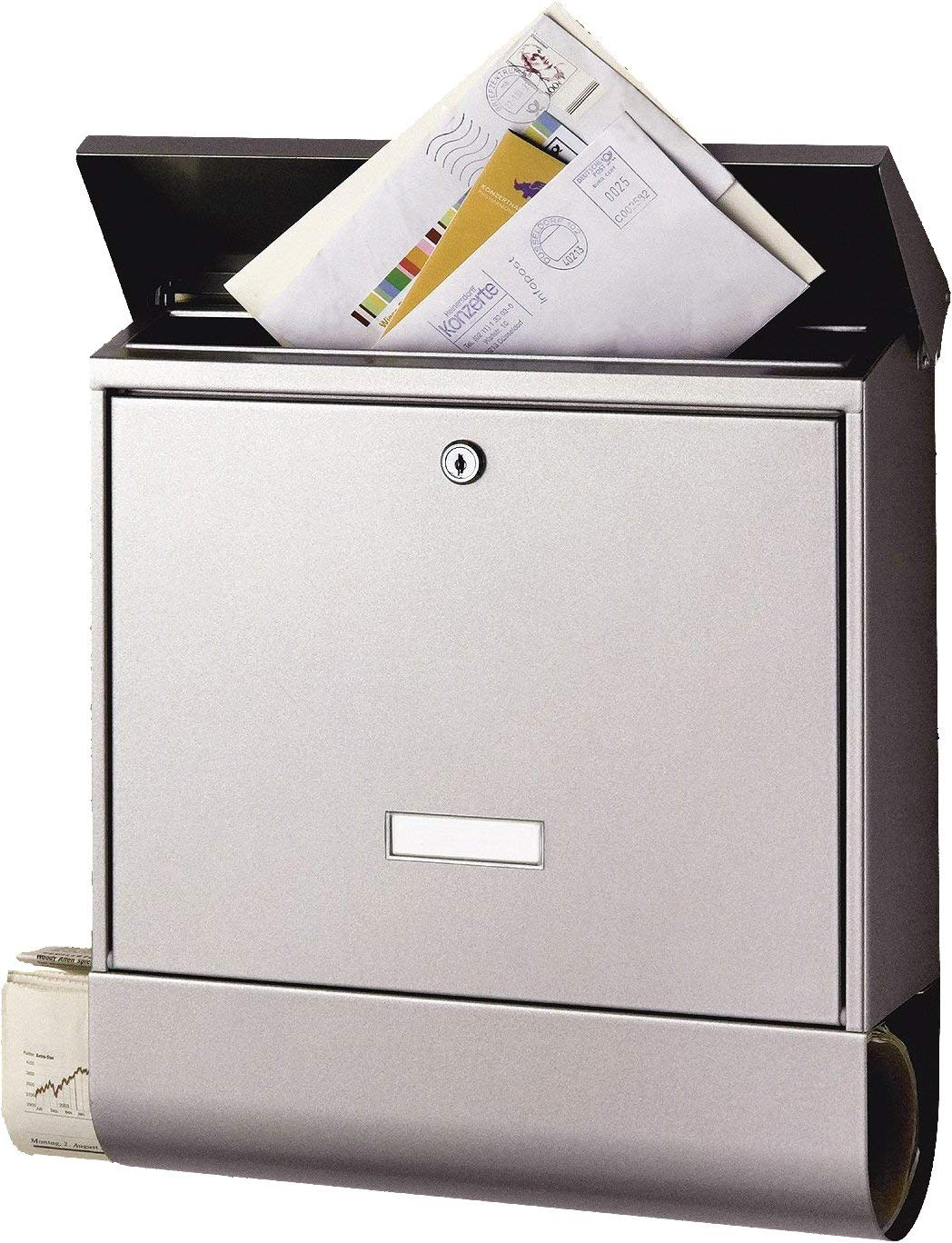 Burg-WÄCHTER letterbox with Newspaper Compartment and Name Badge, A4 Slot Size, EU Standard EN 13724, 2 Keys Included, Stainless Steel, Seculine 2500 Ni