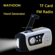 New TF Card solar radio hand crank generator FM radio with flashlight hand dynamo phone charger 2000mah
