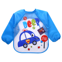 Long Sleeve Waterproof Feeding Baby Bibs For Lunch Baberos Bebes Cartoon Baby Clothing baby apron Waterproof 0-5 Years