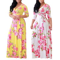 Hot sale fashion clothes three quarter sleeve Sexy printing dress for ladies clothing