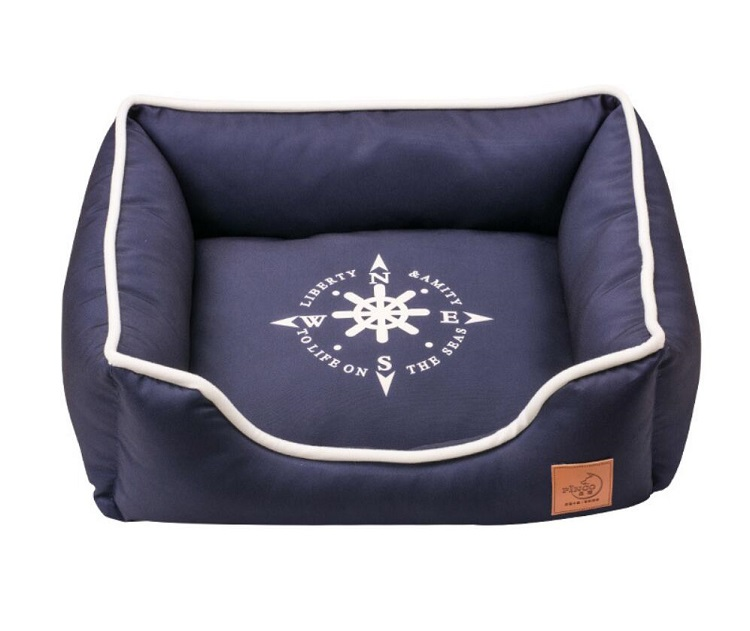 Navy Borden Wasbare Oxford Pet Kat Hond Bed