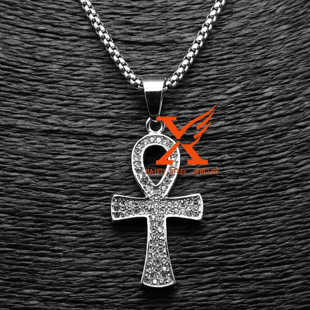 InStock Stinless Steel Silver Pave Iced Out Rhinestone Ankh Pendant Egyptian Jewellry