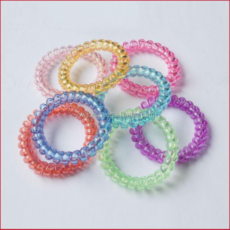 Fashion Elastic Hair Bands Cute Telephone Line Shaped Hair Ties Translucent  Plastic spiral hair ties 6e03957b5ff