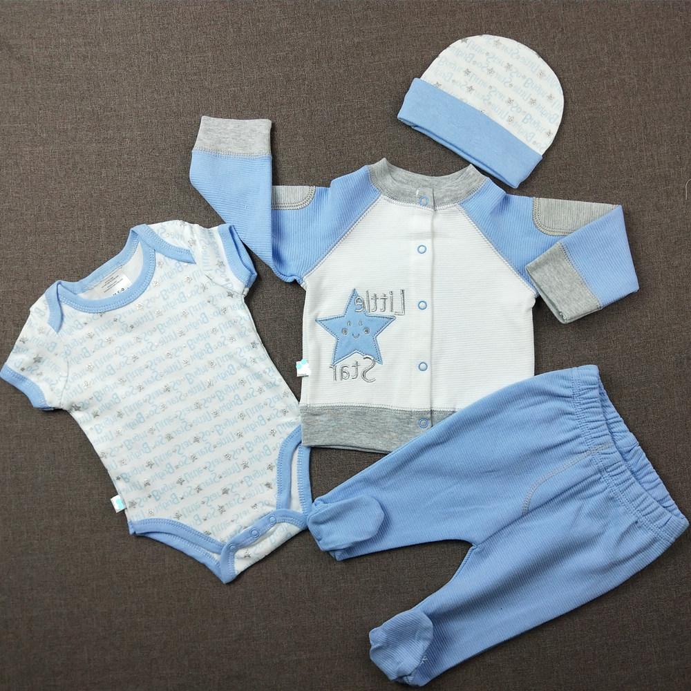 newborn baby boy 100% cotton washable 3pcs romper clothing set