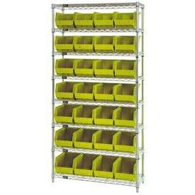 Wire Shelving With (28) Giant Plastic Stacking Bins Yellow, 36x14x74