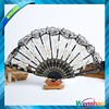 Black lace rose hand fan