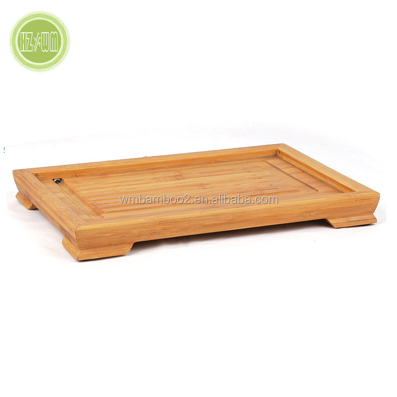 Bamboo Serving Tray with Handles for food and coffee or tea