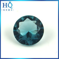 Cheap round glass gemstone synthetic sapphire diamond cut glass gems