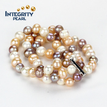 3 Strand Pearl Bracelet Multi Color 9mm Aa Por
