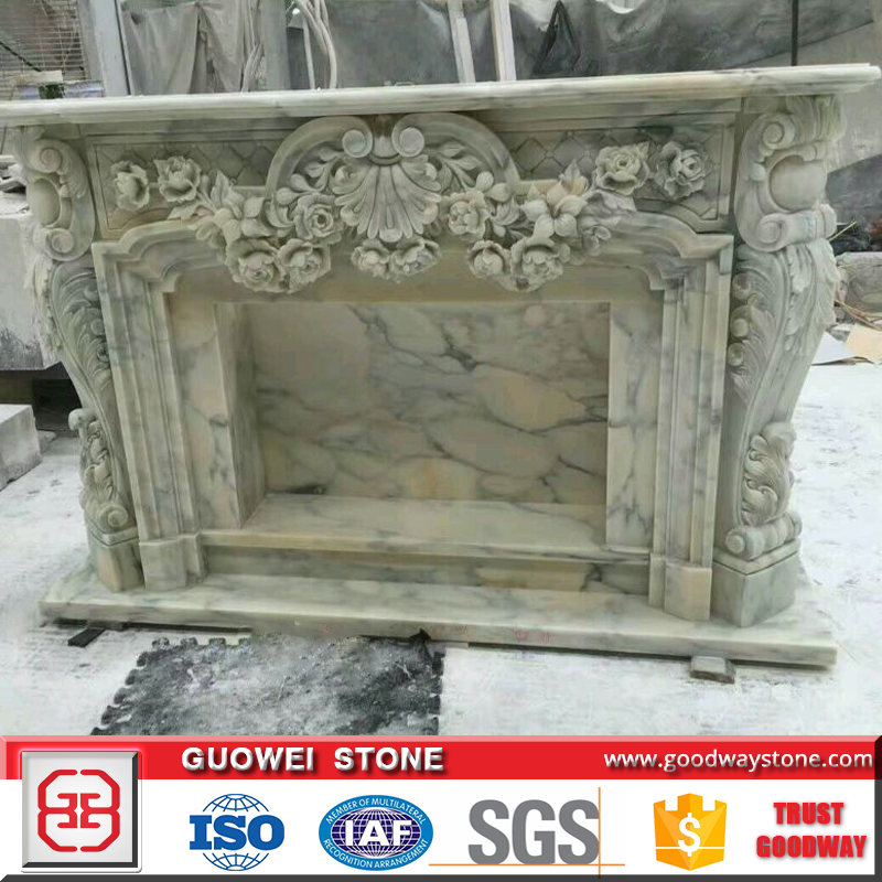 Luxury high quality colorful green marble stone fireplace