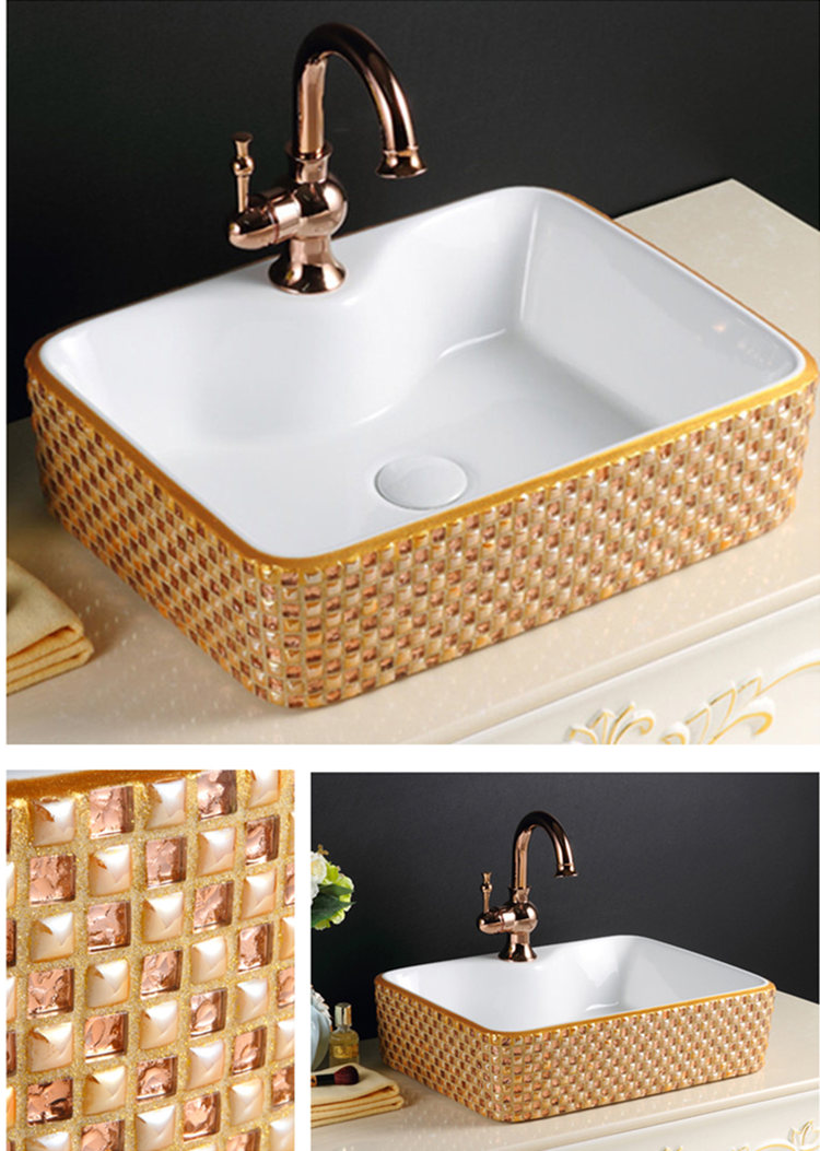 Luxury wash hand basin pattern ceramic color laundry sink