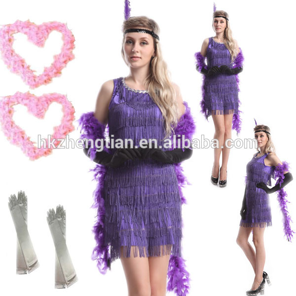 Sexy Purple Flapper Costume Ladies Party Fancy Dress Costume latex catsuit