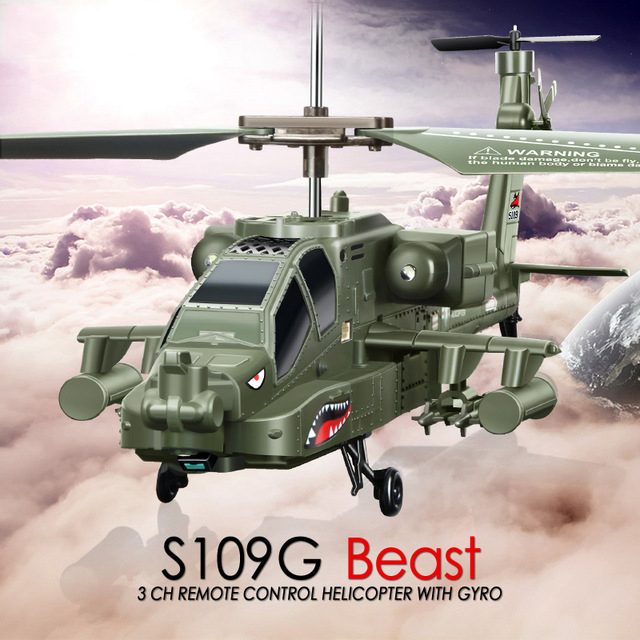 SYMA S109G Mini 3.5CH RC Helicopter AH-64 Apache hexacopter Gunships Simulation Indoor Radio Remote Control Toys for Gift