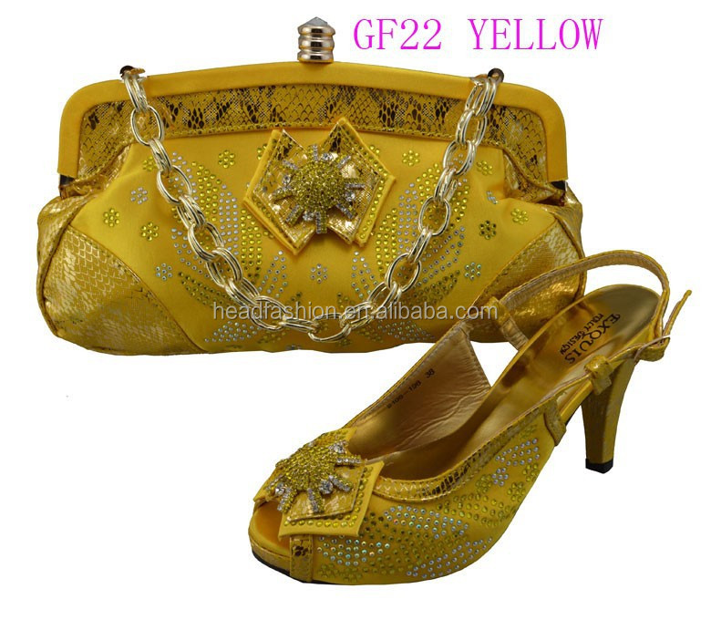 GF22 design bags matching and shoes full gold sequin yellow dress bags and shoes 1aOS1wpq