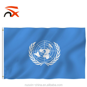 Custom 3*5ft vivid color and uv fade resistant United Nations Flag