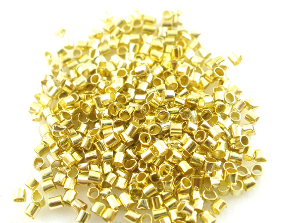 Customize 5000Pcs Crimps Golden Tube Beads Wholesale