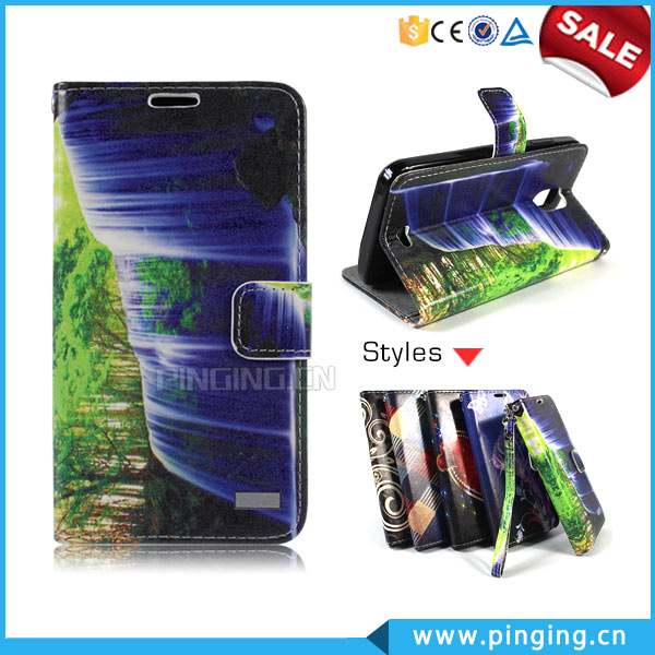 Hot Selling Color printing leather flip case for Tecno C9 , with card slots case for Tecno C9