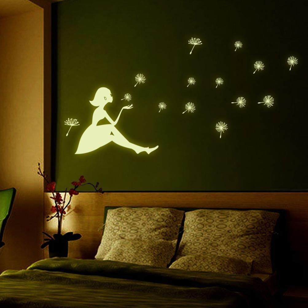 Oksale® Dandelion Girl Luminous Cartoon Kids Wall Stickers Papers Art Vinyl Removable Bedroom Living Room Home Applique Mural Decor Decal