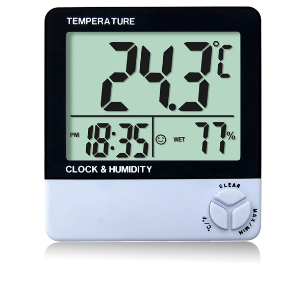 digital wall clock with battery LCD display thermometer hygrometer